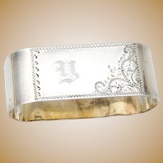 Oval Napkin Ring Scroll Engraved Sterling Silver Mono