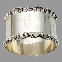 Art Nouveau Scroll Rim Napkin Ring Sterling Silver Mono