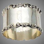 Art Nouveau Scroll Rim Napkin Ring Sterling Silver Mono