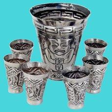 Peruvian Silver Large Beaker Shots Set Repousse Patterns 1930
