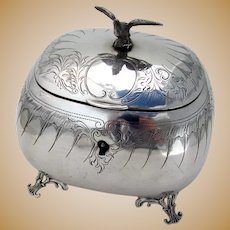 Austro Hungarian Engraved Sugar Box Bird Finial 800 Silver 1872