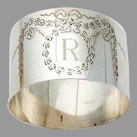 English Engraved Swag napkin Ring Sterling Silver 1920 London Mono