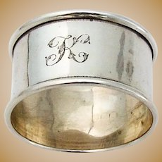 English Napkin Ring Sterling Silver 1942 Birmingham Mono