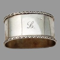 Italian Oval Napkin Ring Applied Rims 800 Silver Mono
