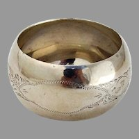 English Engraved Convex Napkin Ring Sterling Silver 1914 Chester