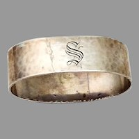Shreve Hammered Oval Napkin Ring Sterling Silver Mono