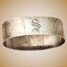 Shreve Hammered Oval Napkin Ring Sterling Silver Mono