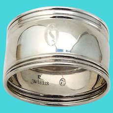 Small Banded Napkin Ring Sterling Silver Mono