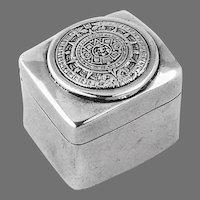 Mayan Calendar Pill Box Sterling Silver Mexico