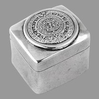 Mayan Calendar Pill Box Sterling Silver Mexico