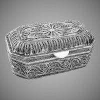 Hand Made Filigree Openwork Box Sterling Silver