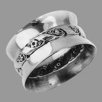 Repousse Floral Banded Napkin Ring Wallace Sterling Silver