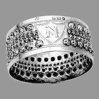 English Beaded Napkin Ring Keight Sterling Silver 1905 Birmingham Mono