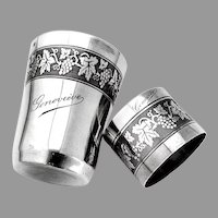 French Engine Turned Grape Beaker Napkin Ring Set Sterling Silver