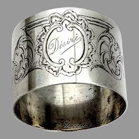 French Engraved Scroll Foliate Napkin Ring Sterling Silver 1900