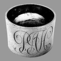 English Heavy Weight Napkin Ring Hancock Sterling Silver 1965 Mono