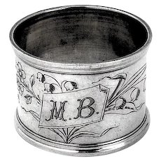 French Floral Engraved Napkin Ring Sterling Silver 1900 Mono