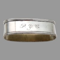 Lunt Oval Napkin Ring Applied Rims Sterling 1940 Mono