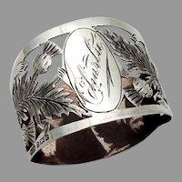 Openwork Thistle Napkin Ring Sterling Silver 1904 Birmingham