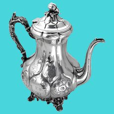 Ornate Repousse Coffee Pot Goodwin Dodd Coin Silver 1820 Mono