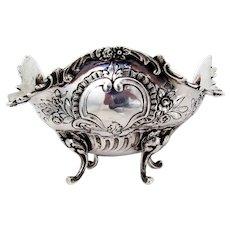 German Ornate Footed Bowl Floral Fruit Baskets 800 Silver 1890