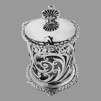 English Openwork Mustard Pot Glass Liner Mappin Webb Sterling 1927
