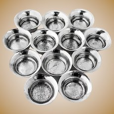 Hand Made Open Salt Dishes Set Silver Coin Bottom Sterling Silver