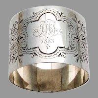 Engraved Foliate Napkin Ring Coin Silver 1883 Mono
