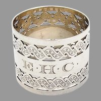Gorham Pierced Engraved Napkin Ring Sterling Silver 1890 Mono