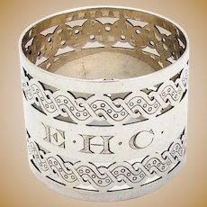 Gorham Pierced Engraved Napkin Ring Sterling Silver 1890 Mono