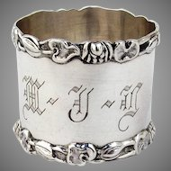 Wallace Pond Lily Leaf Napkin Ring Sterling Silver Mono