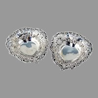Openwork Heart Shape Nut Cups Pair Footed Sterling Silver