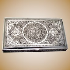 Engraved Arabesque Box Gilt Interior Middle Eastern 900 Silver 1900s