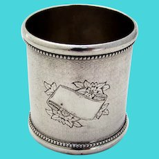 Engine Turned Beaded Shot Cup Toothpick Holder Coin Silver 1870