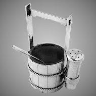 Japanese Bucket Form Open Salt Shaker Set 950 Sterling Silver