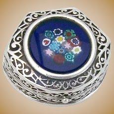 Millefiori Murano Glass Pill Box Openwork Sterling Silver Venice