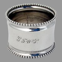Beaded Rim Napkin Ring Sterling Silver 1915 Mono