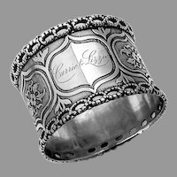 Floral Milled Napkin Ring Openwork Beaded Rim Coin Silver 1870