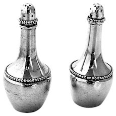 Wallace Beaded Salt Pepper Shakers Set Sterling Silver 1890