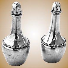 Wallace Beaded Salt Pepper Shakers Set Sterling Silver 1890
