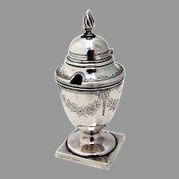 Victorian Engraved Mustard Pot Hilliard Thomason Sterling 1841