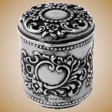 Ornate Thimble Holder Gilt Interior Sterling Silver 1890
