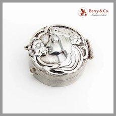 Art Nouveau Style Repousse Female Profile Pill Box Sterling Silver