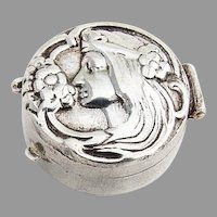 Art Nouveau Style Repousse Female Profile Pill Box Sterling Silver