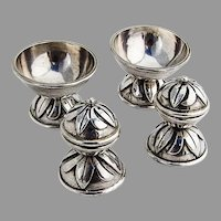 Hand Made Open Salt Dishes Shakers Set Victoria Sterling Silver Mexico