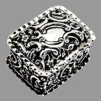 English Floral Scroll Pill Box Gilt Interior Sterling Silver 1899