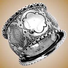 Engine Turned Coin Silver Napkin Ring Applied Borders 1860