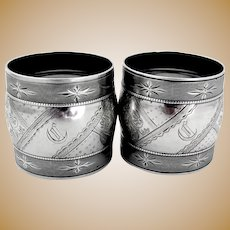 Aesthetic Engraved Napkin Rings Pair Coin Silver 1874 Mono