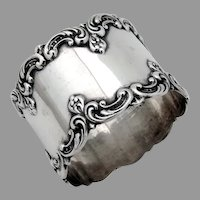 Art Nouveau Scroll Border Napkin Ring Gorham Sterling Silver