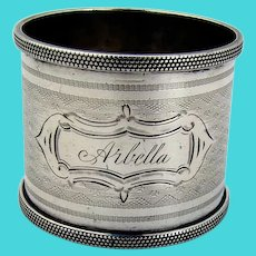 Engine Turned Design Napkin Ring Coin Silver 1890 Inscribed